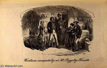 Order Reproductions | We Arrive Unexpectedly at Mr Peggotty`s Fireside by Hablot Knight Browne (1815-1882, United Kingdom) | WahooArt.com