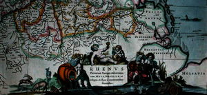 Hendrik I Hondius - Cartouche of a map of the course of the Rhine