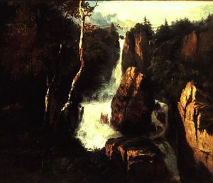 Henry Bright - An alpine waterfall