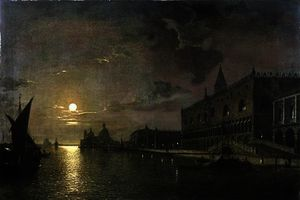 Henry Pether - Moonlit view of the bacino di san marco