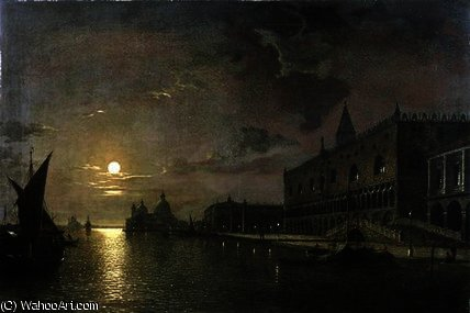Moonlit view of the bacino di san marco by Henry Pether (1828-1865, United Kingdom)