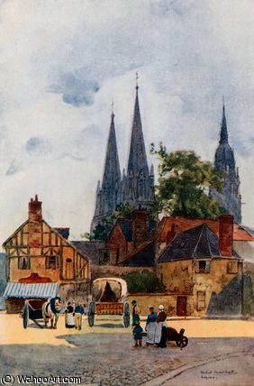 A street corner, bayeux by Herbert Menzies Marshall (1841-1913, United Kingdom)