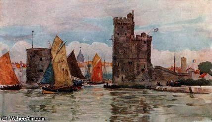 Entrance to the Harbor, La Rochelle by Herbert Menzies Marshall (1841-1913, United Kingdom)