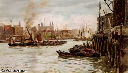 Port of London by Herbert Menzies Marshall (1841-1913, United Kingdom) | Art Reproduction | WahooArt.com
