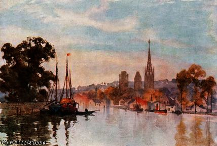 Rouen from the River by Herbert Menzies Marshall (1841-1913, United Kingdom)