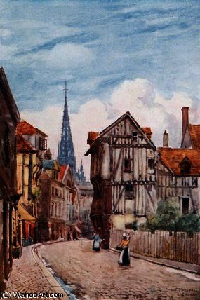 Rue st. romain, rouen by Herbert Menzies Marshall (1841-1913, United Kingdom)
