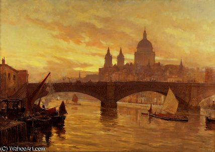 Southwark bridge by Herbert Menzies Marshall (1841-1913, United Kingdom) | Museum Quality Reproductions | WahooArt.com