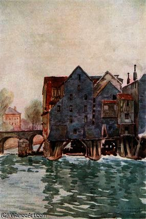 The Old Mills at Meaux by Herbert Menzies Marshall (1841-1913, United Kingdom) | WahooArt.com