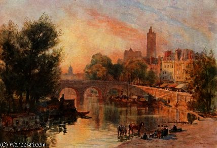 The pont marie, paris by Herbert Menzies Marshall (1841-1913, United Kingdom)