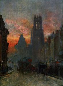 Herbert Menzies Marshall - View looking down Fleet Street, London