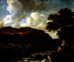 Jacob Isaakszoon Van Ruisdael (Ruysdael) - Mountainous Wooded Landscape with a Torrent