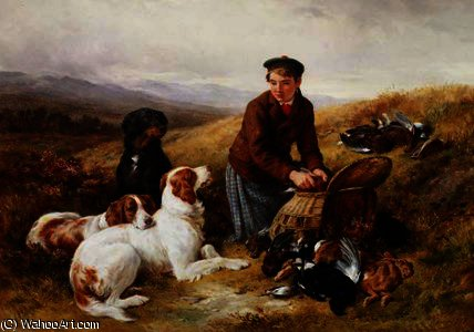 A Young Gillie With Setters and Dead Game by James Hardy Junior (1832-1889) | Oil Painting | WahooArt.com