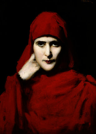 A woman in a red cloak by Jean Jacques Henner (1829-1905, France) | Paintings Reproductions Jean Jacques Henner | WahooArt.com