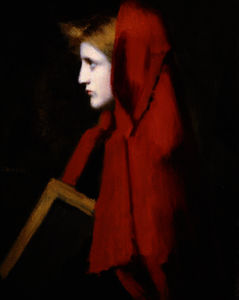 Jean Jacques Henner - A woman in profile holding a book
