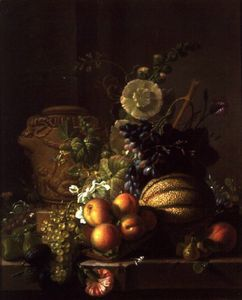 Jean Louis Prevost - A Still Life of a Melon, Peaches, Figs, Plums, Grapes and Other Fruit