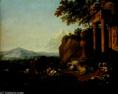 Order Art Reproduction : Landscape with a ruin by Johann Heinrich Roos (1631-1631, Germany) | WahooArt.com