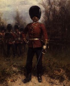 Johannes Hermanus Koekkoek - Portrait of an Officer of the Grenadier Guards