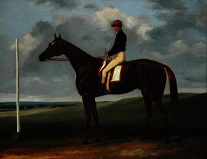 John Alfred Wheeler - Chestnut colt with Jockey up and starting post