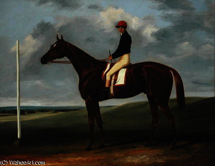 Chestnut colt with Jockey up and starting post by John Alfred Wheeler (1821-1903, United Kingdom)