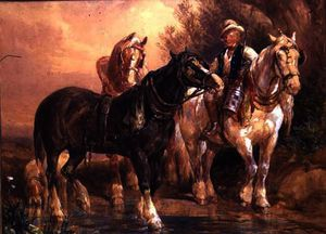 John Frederick Tayler - Boy and Cart Horses