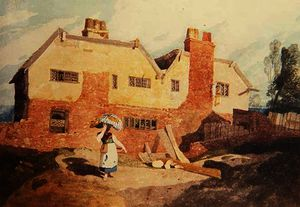 John Sell Cotman - Cottages with a Washerwoman c.1808 - (9)