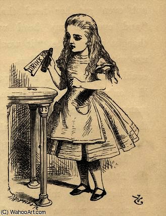 Alice peering at the Drink Me bottle by John Tenniel (1820-1914, United Kingdom)