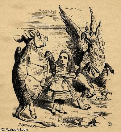 Alice with the Gryphon and the Mock Turtle by John Tenniel (1820-1914, United Kingdom) | Famous Paintings Reproductions | WahooArt.com