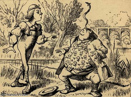 Father William balancing an eel on his nose by John Tenniel (1820-1914, United Kingdom)