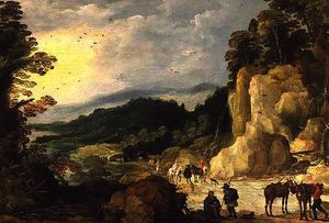 Joos De Momper The Younger - A Mountain Landscape with a Waterfall and Travellers at a Ford