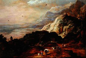 Order Famous Paintings Reproductions : A Mountainous Landscape with Figures and Mules by Joos De Momper The Younger (1564-1635) | WahooArt.com