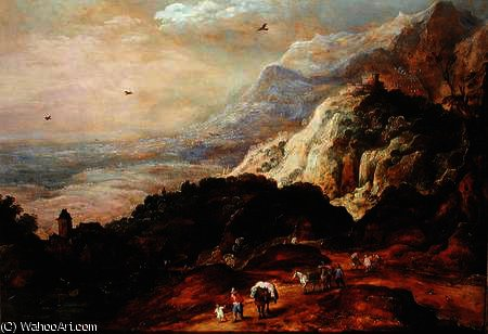 A Mountainous Landscape with Figures and Mules by Joos De Momper The Younger (1564-1635)