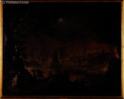 Burning town by the sea by Joos De Momper The Younger (1564-1635) | Museum Quality Reproductions | WahooArt.com
