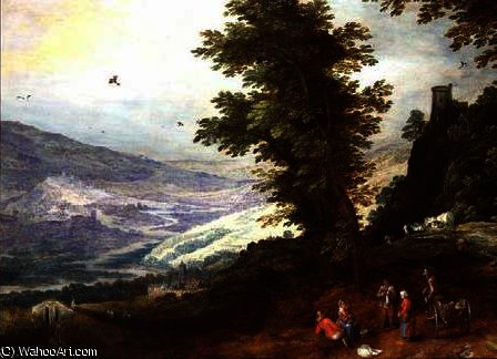 Extensive Landscape with Peasants by Joos De Momper The Younger (1564-1635) | Art Reproduction | WahooArt.com