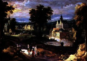 Joos De Momper The Younger - Figures in a landscape with village and castle beyond