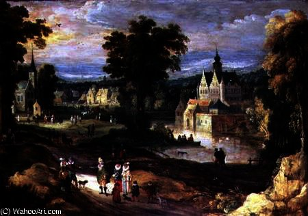 Figures in a landscape with village and castle beyond by Joos De Momper The Younger (1564-1635)