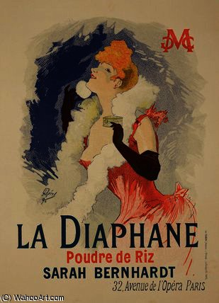 Reproduction of a poster advertising 'La Diaphane' by Jules Cheret (1836-1932, France) | WahooArt.com