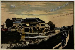 Order Art Reproduction : The Sunset at Yanagishima by Kobayashi Kiyochika (1847-1915, Japan) | WahooArt.com
