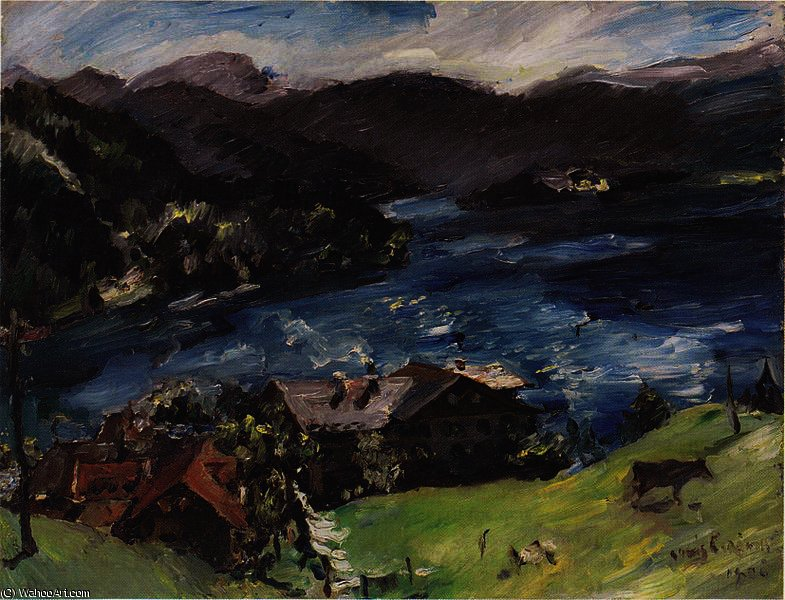 Walchensee, Landscape with cattle by Lovis Corinth (Franz Heinrich Louis) (1858-1925, Netherlands) | Museum Quality Reproductions | WahooArt.com