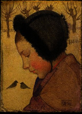 Head of a Young Girl in a Fur Hat by Marianne Preindelsberger Stokes (1855-1927, Austria) | Museum Art Reproductions Marianne Preindelsberger Stokes | WahooArt.com