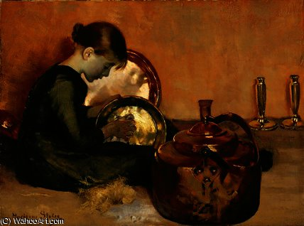 Order Art Reproductions | Polishing pans by Marianne Preindelsberger Stokes (1855-1927, Austria) | WahooArt.com