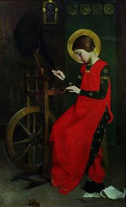 Marianne Preindelsberger Stokes - St. Elizabeth of Hungary spinning Wool for the