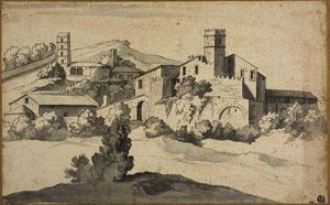 Michel Ange Houasse - Landscape with an Old Castle