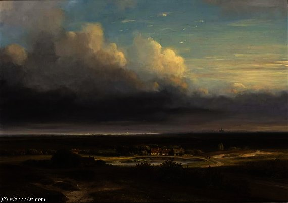 A panoramic landscape, haarlem in the distance by Nicolaas Johannes Roosenboom (1805-1880, Netherlands)