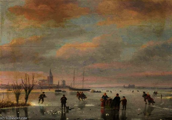 A winter landscape with figures skating by Nicolaas Johannes Roosenboom (1805-1880, Netherlands)