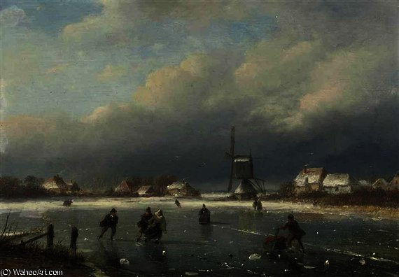 A winter landscape with skaters and a mill beyond by Nicolaas Johannes Roosenboom (1805-1880, Netherlands)