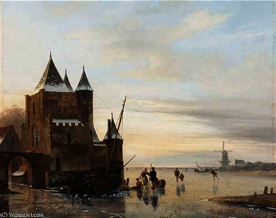 A winter landscape with skaters on a frozen river, a 'koek and zopie' beyond by Nicolaas Johannes Roosenboom (1805-1880, Netherlands)