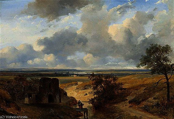 Figures in a panoramic summer landscape by Nicolaas Johannes Roosenboom (1805-1880, Netherlands)