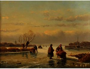 Nicolaas Johannes Roosenboom - Figures on a frozen lake