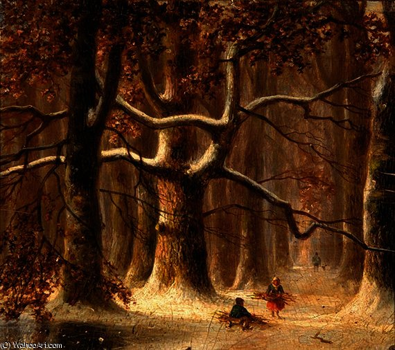 Gathering wood in the forest by Nicolaas Johannes Roosenboom (1805-1880, Netherlands)