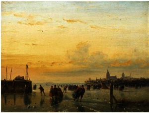 Order Museum Quality Reproductions : Numerous skaters near a town by Nicolaas Johannes Roosenboom (1805-1880, Netherlands) | WahooArt.com